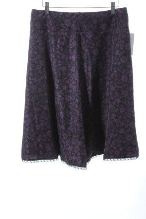 Esprit Seidenrock schwarz-lila florales Muster klassischer Stil