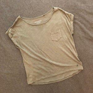 ESPRIT Shirt, Größe S, khaki-farben, kleines Dreieck im Nietenstil, Vordertasche