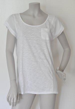 Esprit Shirt im Materialmix Baumwolle Polyester weiß Gr. M – WIE NEU