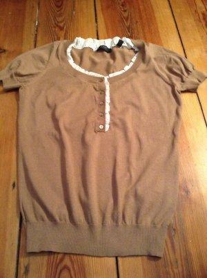 Esprit-Shirt kamelfarben mit weißem Blusenrand