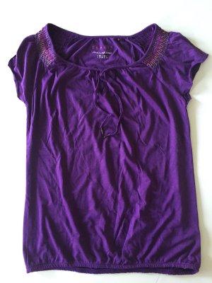 Esprit Shirt mit geschnürtem Ausschnitt