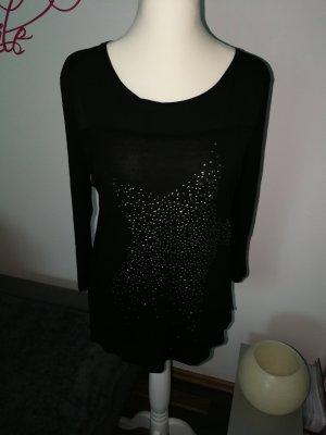 Esprit Shirt mit Glitzerstein Stern Motiv in schwarz in der Größe L