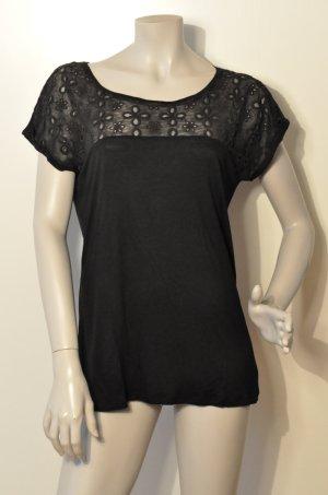 Esprit Shirt mit Spitze Viskose schwarz Gr. L