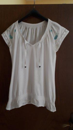Esprit Shirt mit türkiser Federstickerei