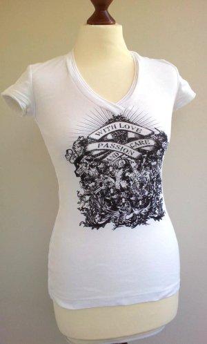 Esprit Shirt S (36), Weiß / Schwarz, Print & Destroyed-Look, NEU