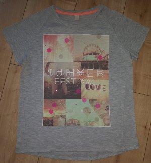Esprit Shirt Summer Festival Konzert Pailletten Print Druck Grau XS 34