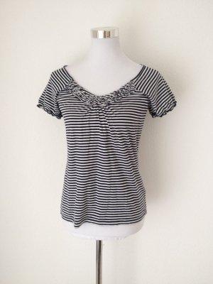 ESPRIT Shirt T-Shirt Streifen maritim marine dunkelblau Gr. M 38 Rüschen 100 %