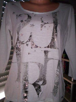 ESPRIT Shirt, weiß mit Silberdruck, 3/4-Arm, Gr.42/42