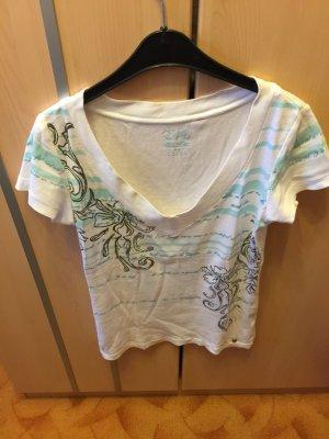 Esprit Shirt weiß mit türkis und V-Auschnitt