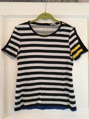 Esprit Shirt weiß / schwarz / blau / gelb Streifen Gr. M