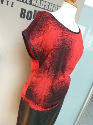 Esprit Shirt XL 42/44 rot-schwarz Viskose Shirt überschnittener Arm #wie neu