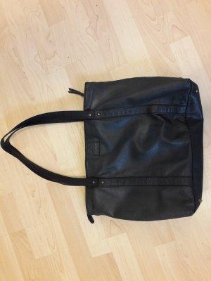 Esprit Shopper Tasche schwarz dunkelgrau Kunstleder 29,5x42,9,5cm