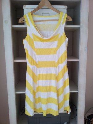 Esprit Skaterkleid / Strandkleid in 38 (S), Gelb / Weiß, Streifen & Wasserfallausschnitt, NEU
