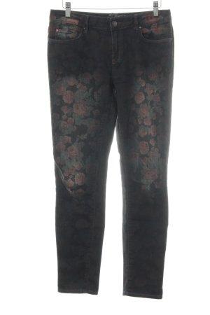 Esprit Skinny Jeans dunkelbraun Blumenmuster Vintage-Look