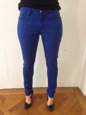 Esprit skinny slim fit Röhre Jeans blau schwaz gepunktet W27 L32 nomaler Bund