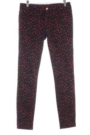 Esprit Slim Jeans schwarz-rot florales Muster Casual-Look