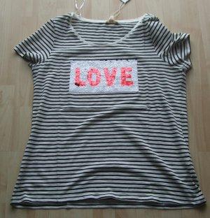 Esprit Slub-Shirt mit Pailletten - Gr. XXL - Neu