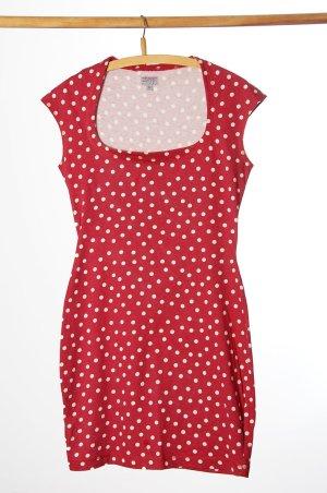 Esprit T-shirt jurk neonrood-wit Katoen