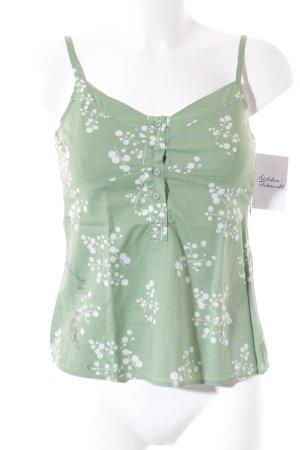 Esprit Spaghettiträger Top grasgrün-weiß Blumenmuster Romantik-Look