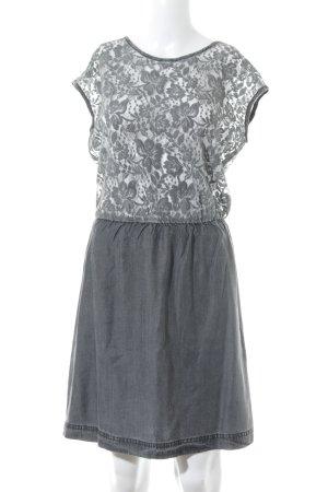 Esprit Spitzenkleid grau florales Muster Materialmix-Look