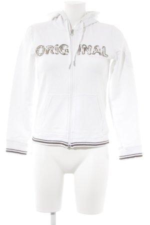 Esprit Sports Sweatjacke weiß-graubraun Schriftzug gedruckt Casual-Look