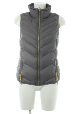 Esprit Gewatteerd vest grijs-geel quilten patroon casual uitstraling