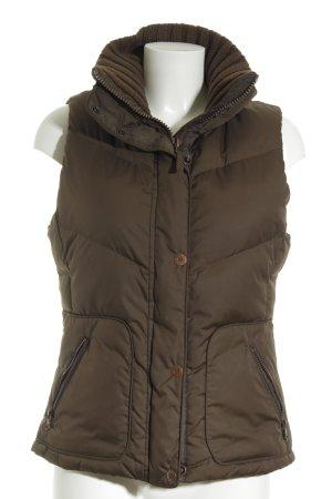 Esprit Gewatteerd vest khaki quilten patroon simpele stijl