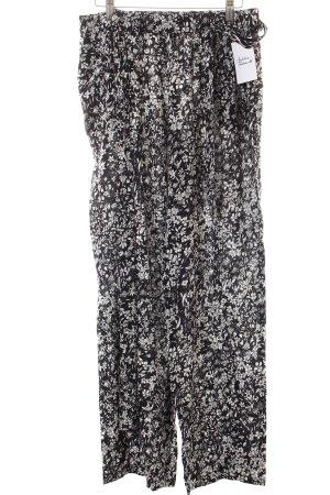 Esprit Stoffhose schwarz-weiß florales Muster Casual-Look