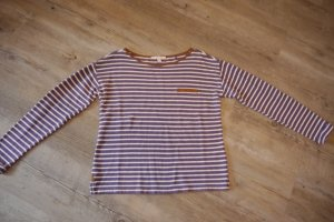 Esprit Streifen-Shirt fester Stoff Gr. S lila violett weiße Streifen Velourdetails