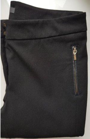 Esprit Stretch-Hose, Schwarz, gezippte Taschen mit Leder-Applikation, Gr. 36