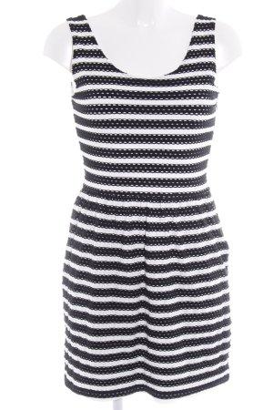 Esprit Stretchkleid schwarz-weiß Lochstrickmuster Casual-Look