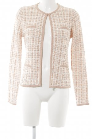 Esprit Strick Cardigan rosé-weiß Karomuster Casual-Look