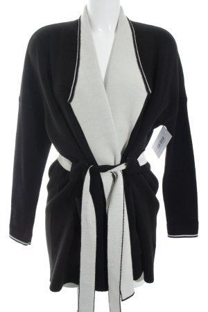 Esprit Strick Cardigan schwarz-hellbeige Colourblocking Casual-Look