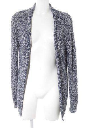 Esprit Strick Cardigan weiß-dunkelblau Lochstrickmuster Casual-Look