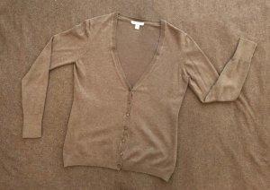 ESPRIT Strickjacke, Größe M, Farbe dunkel-beige, V-Ausschnitt