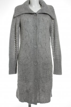 Esprit Cardigan light grey loosely knitted pattern fluffy