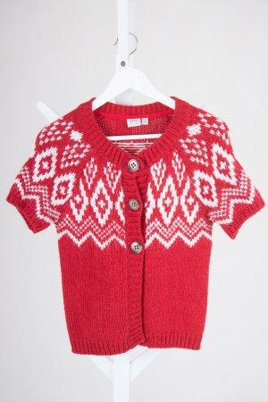 Esprit Cardigan a maniche corte rosso mattone-crema Acrilico