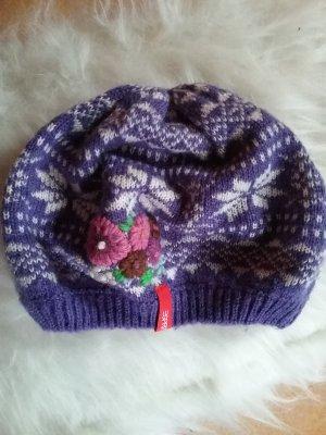 Esprit Cappello a maglia bianco-viola scuro