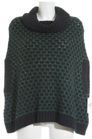 Esprit Strickponcho waldgrün-dunkelblau abstraktes Muster Casual-Look