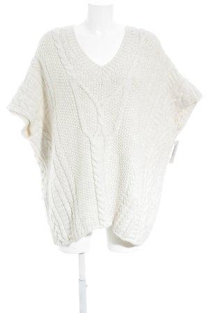 Esprit Poncho en tricot blanc cassé torsades style décontracté