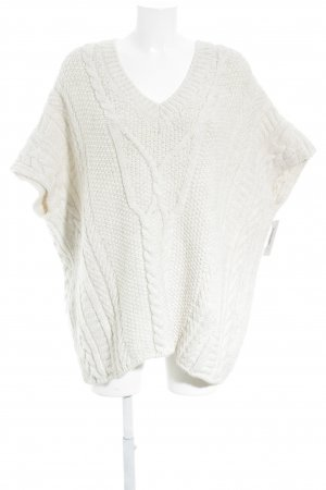 Esprit Strickponcho wollweiß Zopfmuster Casual-Look