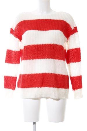 Esprit Strickpullover weiß-rot Streifenmuster Casual-Look