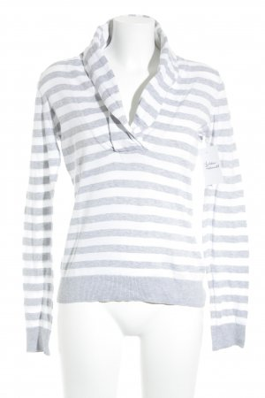 Esprit Strickpullover hellgrau-weiß Streifenmuster Casual-Look
