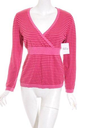 Esprit Strickpullover magenta-pink Streifenmuster Casual-Look