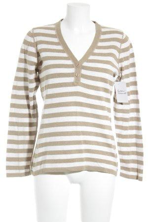 Esprit Strickpullover weiß-graubraun Streifenmuster Casual-Look