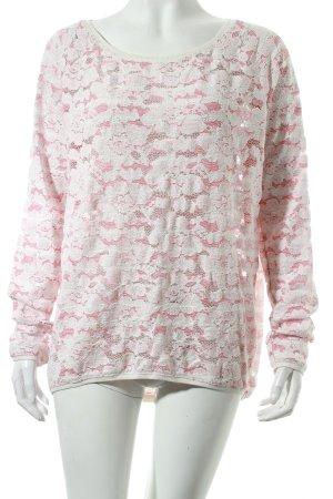 Esprit Strickpullover weiß-rosa Lochstrickmuster Street-Fashion-Look