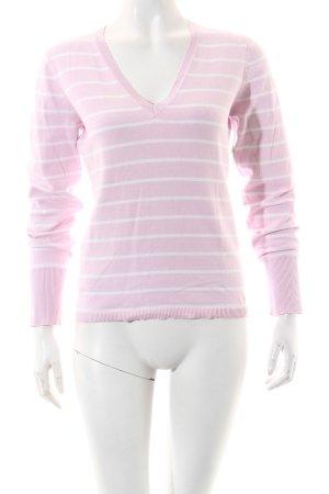 Esprit Strickpullover weiß-rosa Streifenmuster Casual-Look