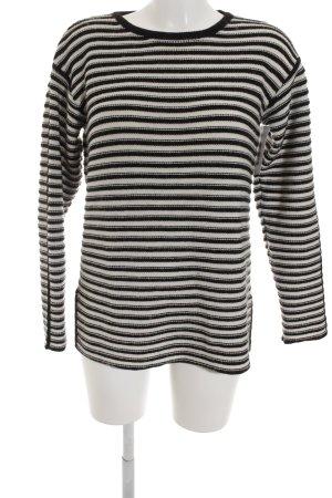 Esprit Strickpullover weiß-schwarz Streifenmuster Casual-Look