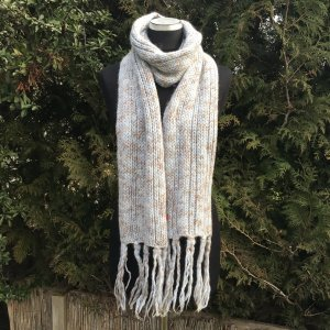 Esprit Knitted Scarf pale blue-beige wool