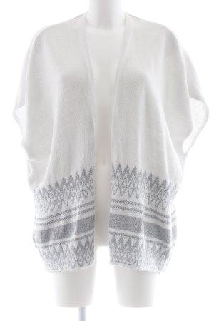 Esprit Gebreid vest wit-grijs gestreept patroon casual uitstraling